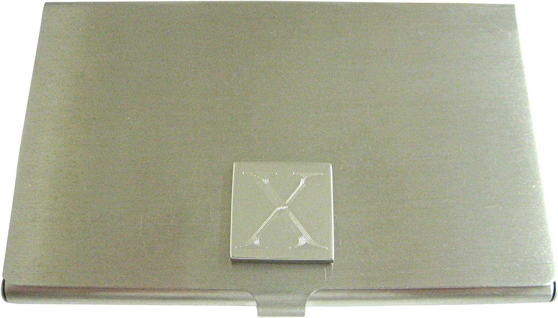 Letter X Etched Monogram Business Card Holder