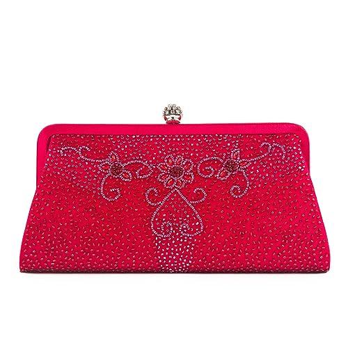 Farfalla 90461 - Cartera de mano de satén para mujer rojo rojo: Amazon.es: Zapatos y complementos