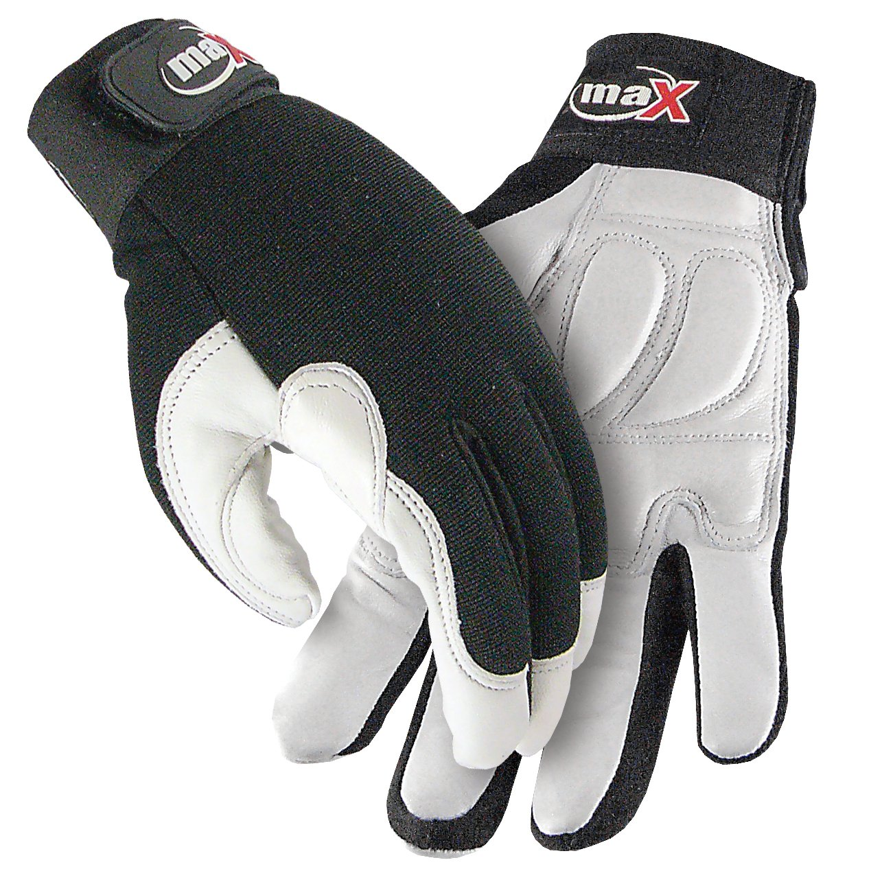 Galeton 9120141-XXL maX Defender Plus Goatskin Rubber Padded Palm Mechanic/Utility Work Gloves, 2X-Large, White/Black