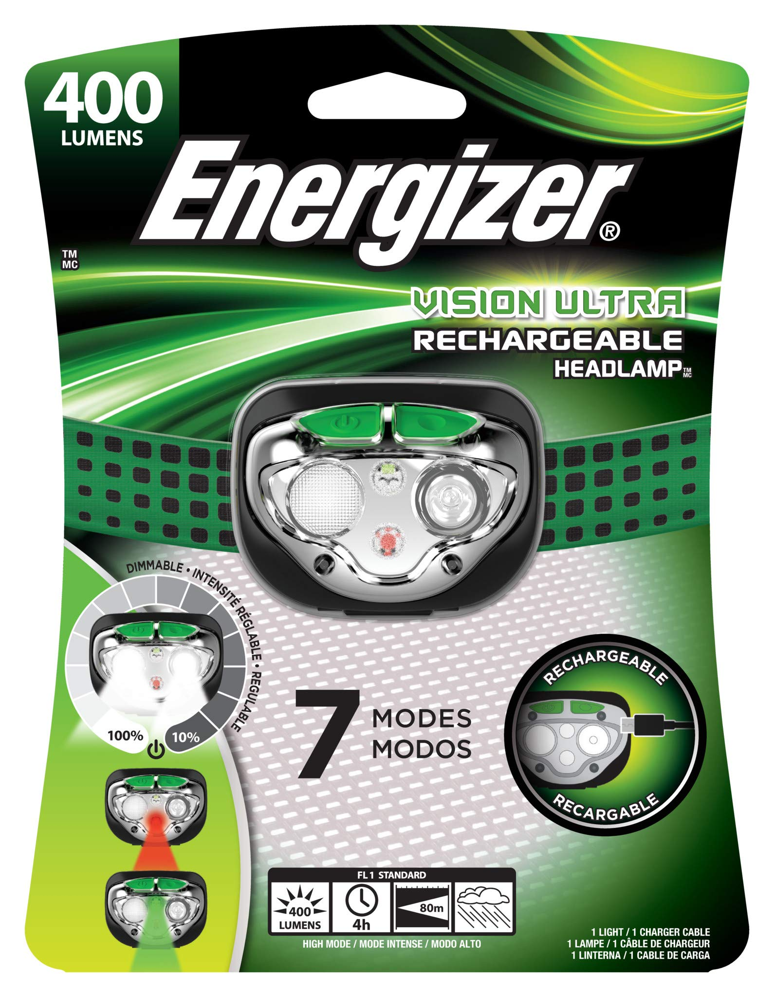 Energizer Vision Ultra Rechargeable Headlamp, 6 Modes by Energizer (Image #3)