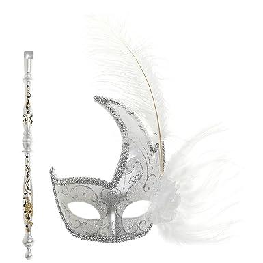 Amazon.com: ilovemasks blanco Stick máscara para trajes de ...