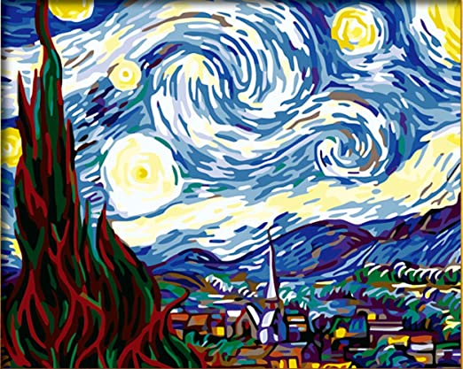 Diyoilpaintings Paint By Numbers Kits Starry Night Origin Paintings By Van Gogh Paint By Number Kits 16 X20 Amazon Co Uk Kitchen Home