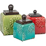 3 Piece Ceramic Antique Square Canister Set
