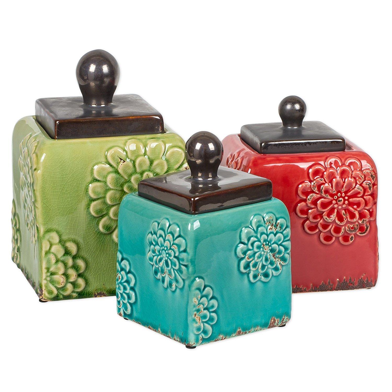 3 Piece Ceramic Antique Square Canister Set