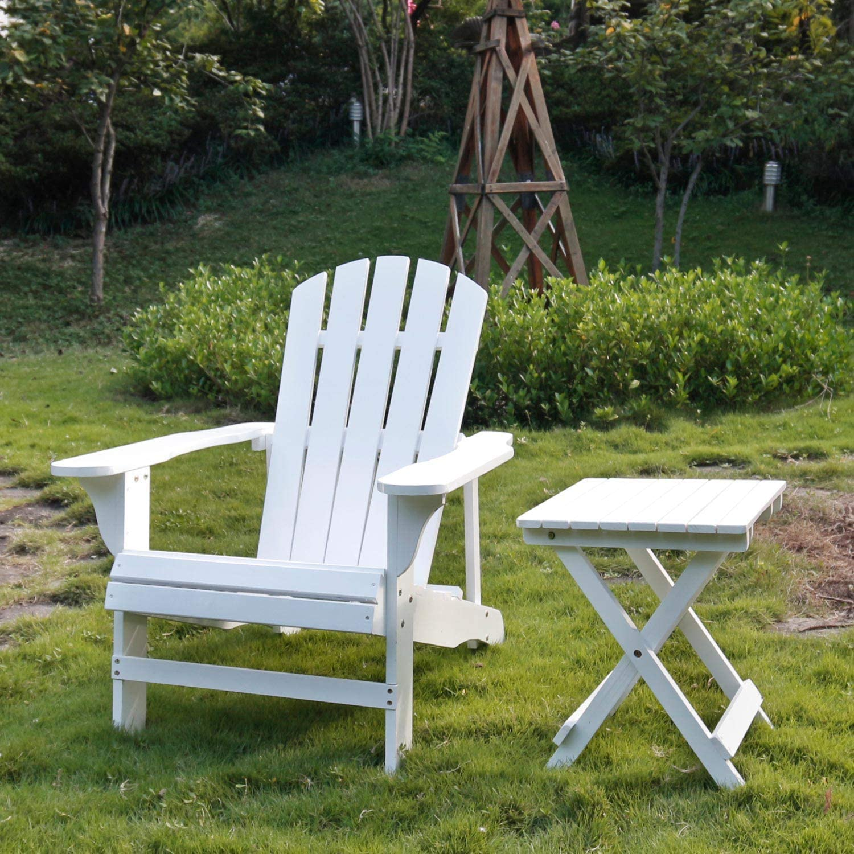 SFYLODS White Outdoor Painted Wood Fashion Adirondack Chair/Muskoka Chairs Patio Deck Garden Furniture : Garden & Outdoor