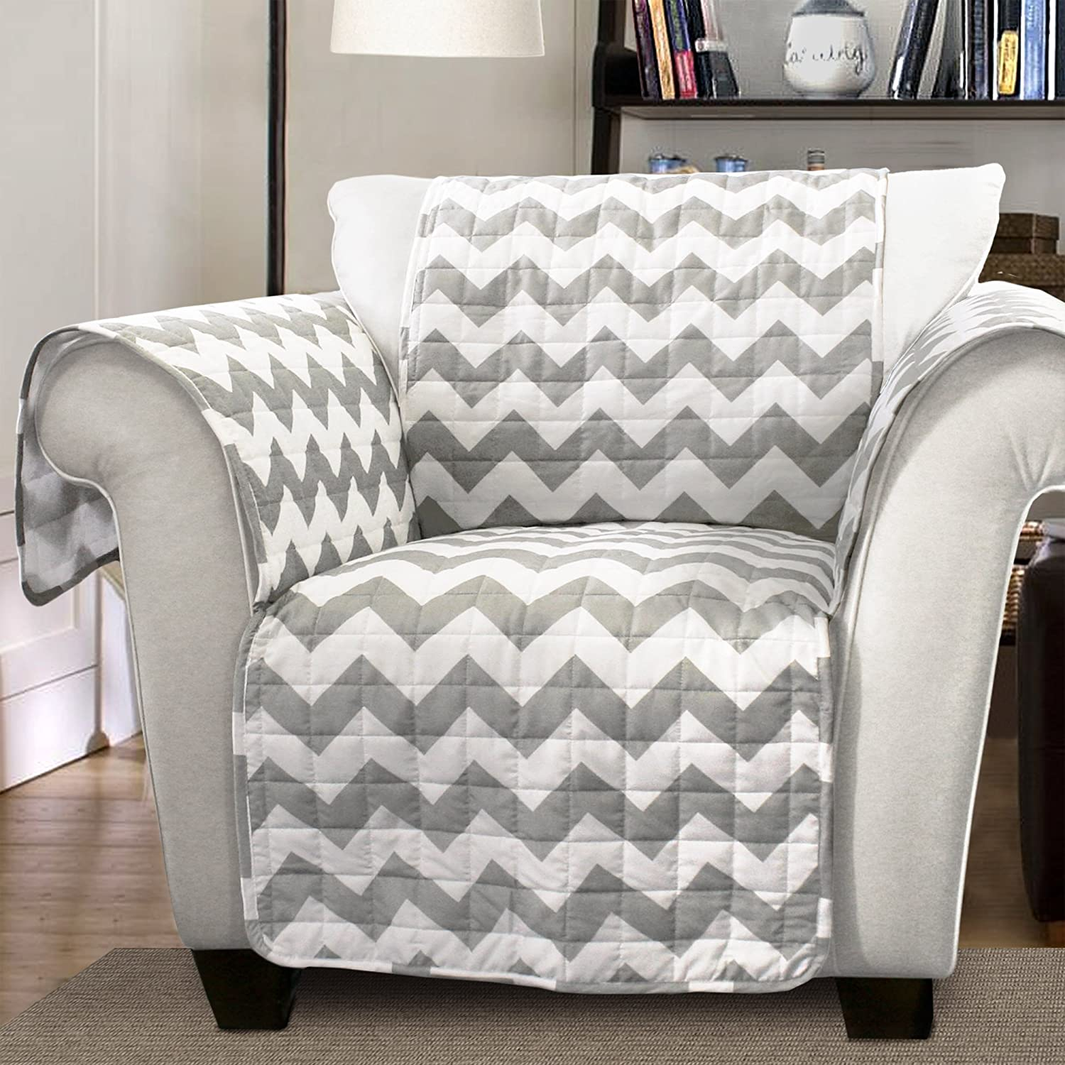 Fabulous Lush Decor Gray Chevron Slipcover Furniture Protector For Armchair White Andrewgaddart Wooden Chair Designs For Living Room Andrewgaddartcom
