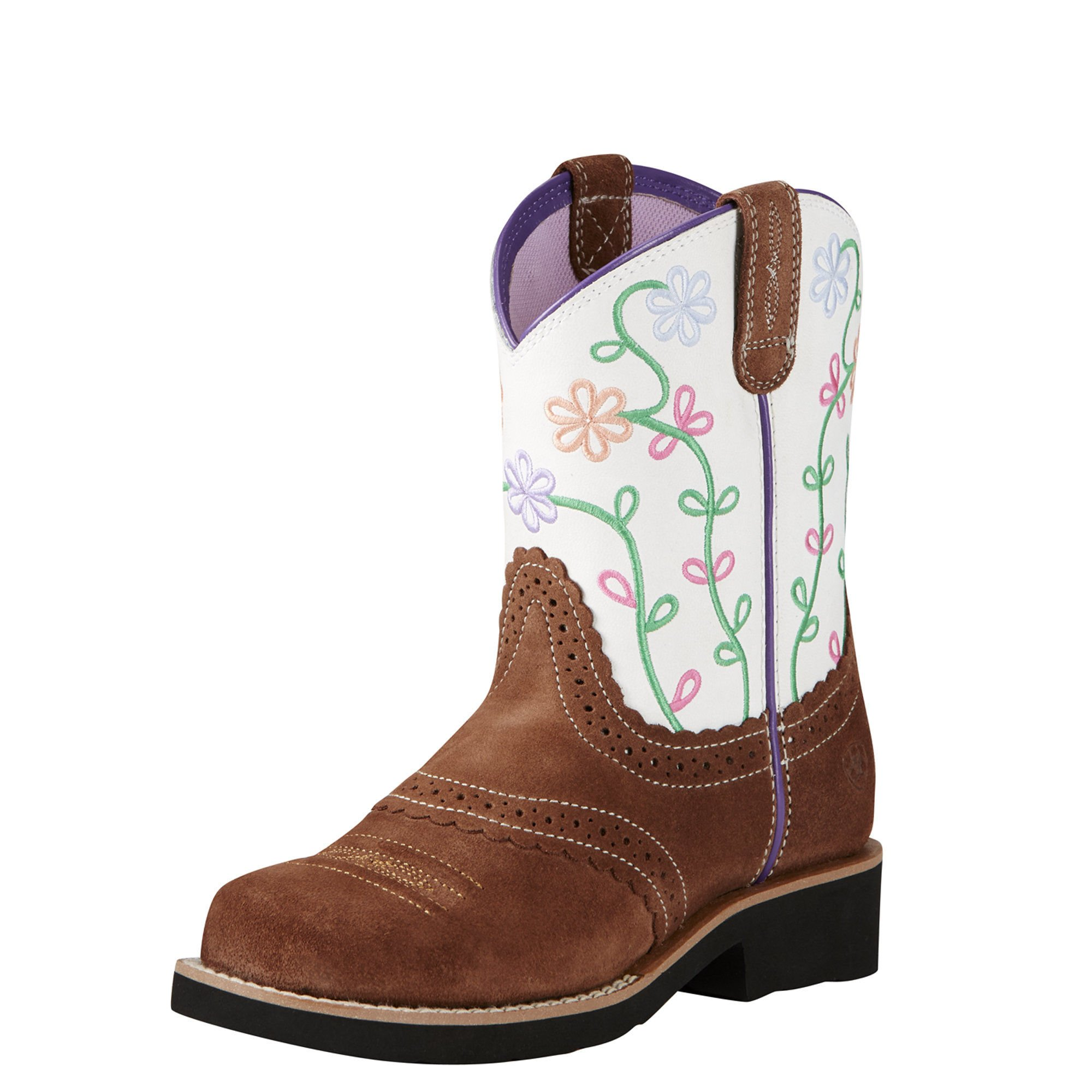 Kids' Fatbaby Blossom Western Cowboy Boot, Saddle Tan Suede, 4 M US Big Kid by Ariat (Image #1)