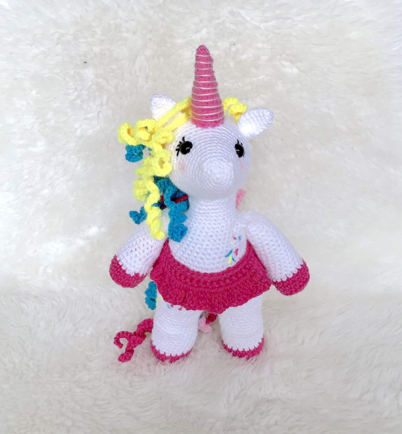 Unicorn Birthday Gift Stuffed Animal Baby Shower Gift Plush White Pink Yellow and Blue