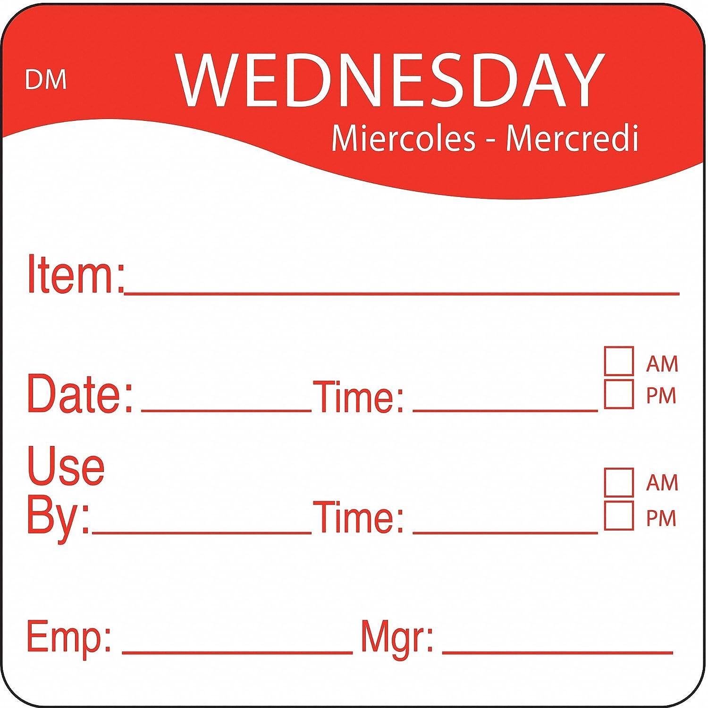Day Label Wednesday PK250 2-2//5 In W