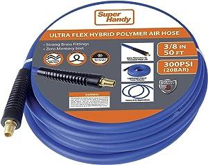 "SuperHandy Air Hose 3/8"" Inch x 50' Feet Long Heavy Duty Industrial Premium Commercial Ultra Flexible Hybrid Polymer Hose Max Pressure 300 PSI/20 BAR Inside Diameter 0.375"" Inch"