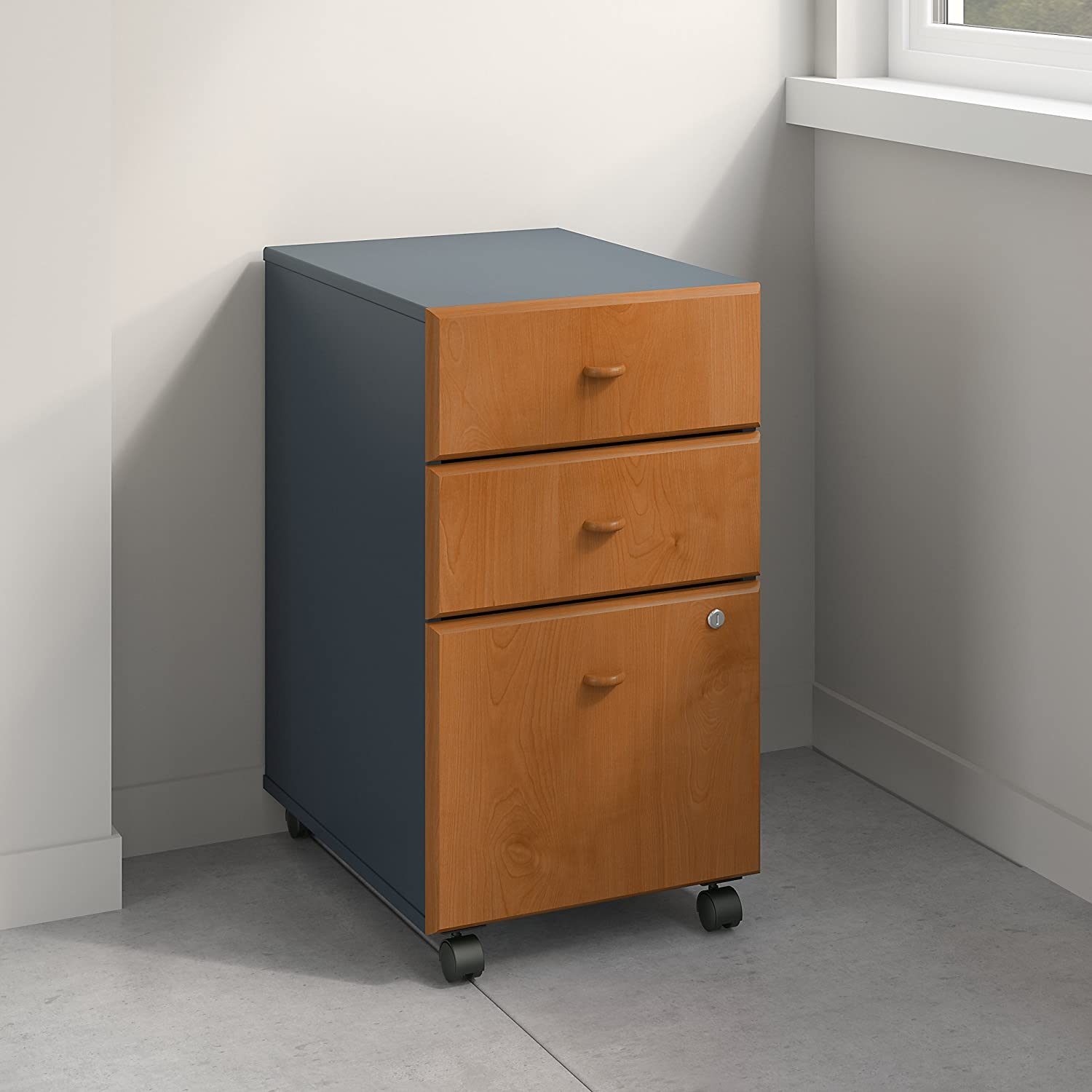 Bush Business Furniture WC57453PSU Series A 3 Drawer Mobile File Cabinet, Natural Cherry/Slate