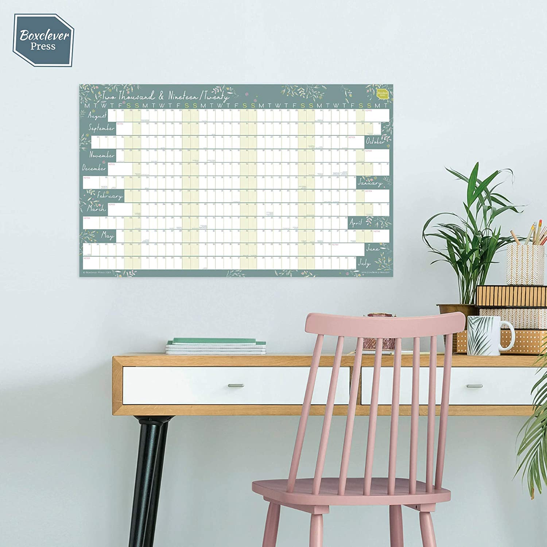 Planning da parete per la casa o l/'ufficio Non Laminato Formato lineare Da Agosto 2019 a Luglio 2020 Boxclever Press 2019//2020 Calendario Planner da Muro Accademico