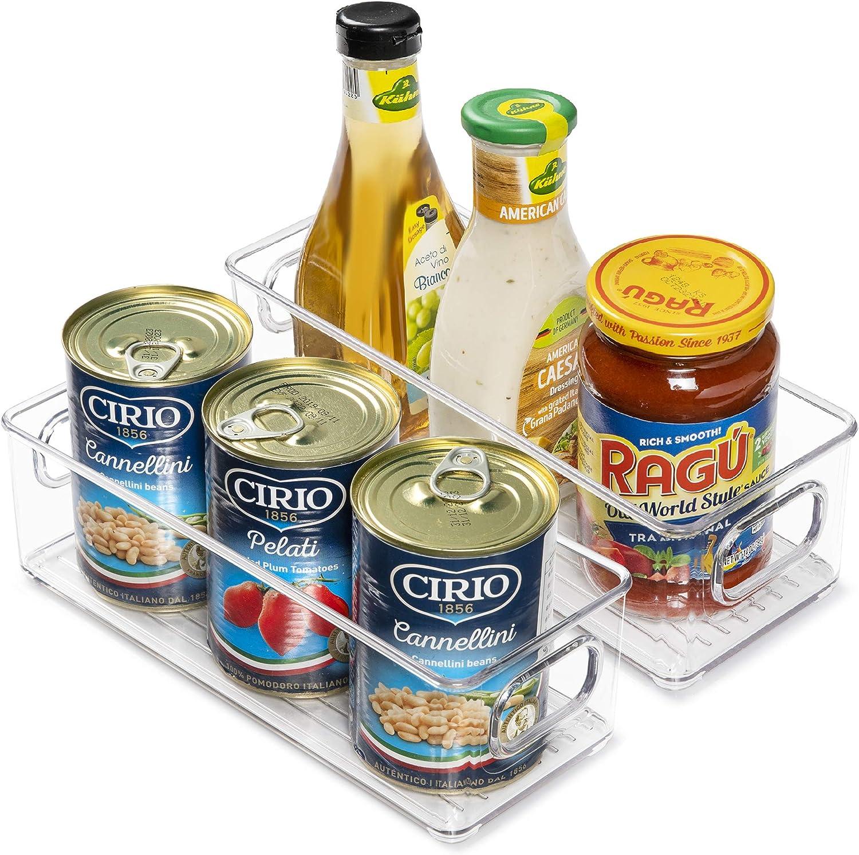 Vtopmart Stackable Clear Plastic Storage Bins, 2 Pack Food Organizer Bins with Handles for Refrigerator, Freezer, Cabinet, Kitchen, Pantry Organization, BPA Free, 10