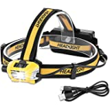USB Rechargeable Head Torch, Dimmable Waterproof LED Headlamp Perfect for Running, Walking, Camping, Reading, Hiking, DIY Work (USB Cable Included)