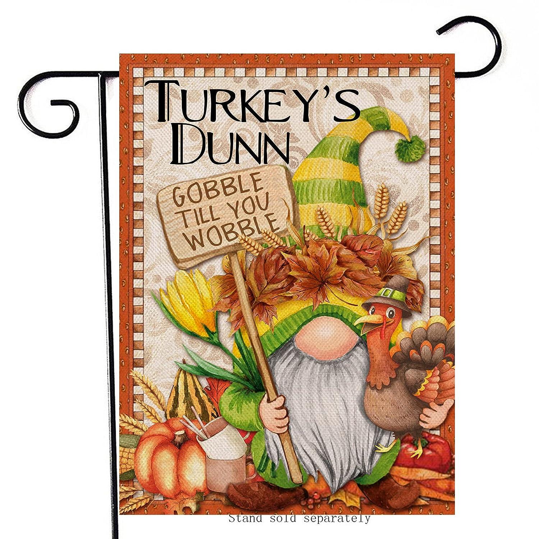 Artofy Turkey's Dunn Thanksgiving Gnome Home Decorative Garden Flag, House Yard Pumpkin Gourd Wheat Gobble Till You Wobble Outside Decor, Fall Autumn Outdoor Small Burlap Decoration Double Sided 12x18