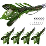 Goture Shad/Crawfish Soft Fishing Lures with Jig Head Hooks, Weedless Rig for Freshwater Saltwater Bass Trout Walleye and Catfish Fishing - 5 Lures with 10 Jig Hooks