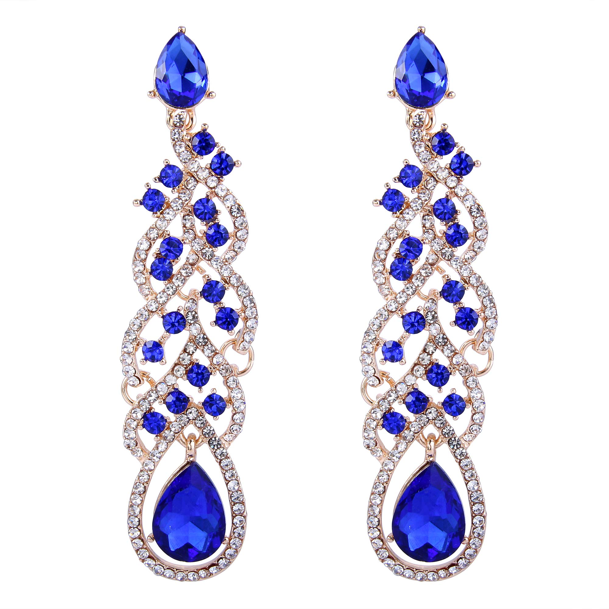 BriLove Gold-Toned Dangle Earrings for Women Fashion Vintage Inspired Crystal Teardrop Hollow Floral Leaf Cluster Earrings Royal Blue Sapphire Color