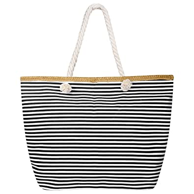 95202a9f64 Czemo Waterproof Beach Bag Canvas Shoulder Bag Oversized Holiday Shopping  Bag Travel Tote Bag with Zip