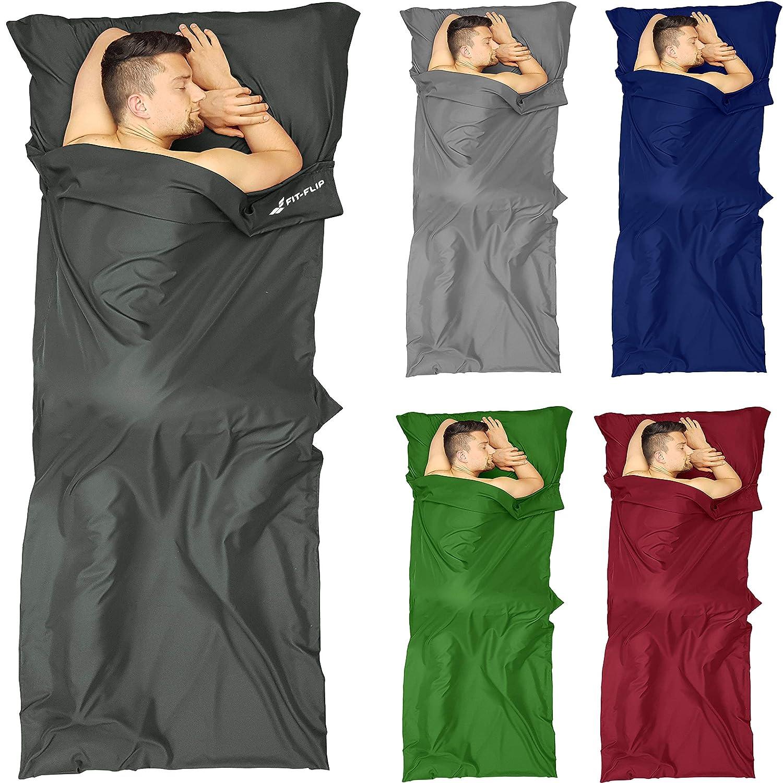Fit-Flip Saco de Dormir Micorfaser, Saco de Viaje, Bolsa de Dormir, Saco de Dormir Inlett con Cremallera - Entrada Derecha - Color: Gris Oscuro: Amazon.es: ...