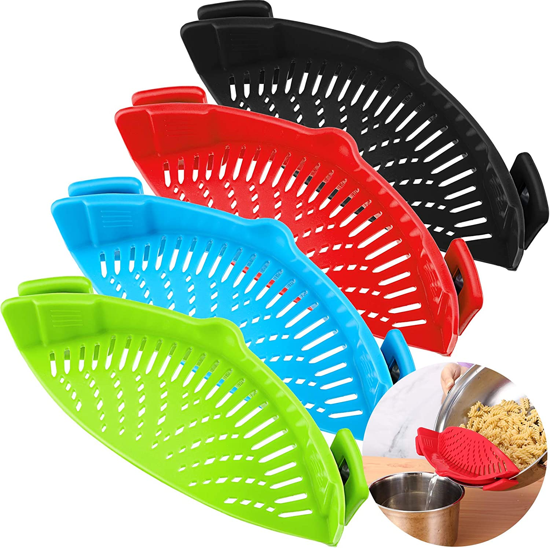 4 Pieces Clip-On Strain Strainer Kitchen Food Strainer Heat Resistant Silicone Colander Spout for Pasta Vegetable Noodles Pot Bowl Pan (Red, Green, Blue, Black)