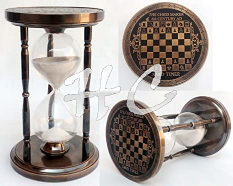 Antiguo estilo de ajedrez marítima Náutico de latón arena temporizador reloj de arena reloj de arena