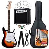 Rocktile Banger's Pack Komplettset E-Gitarre Sunburst (Verstärker, Tremolo, Tasche, Kabel, Gurt, Plecs, Ersatzsaiten und Schule mit CD/DVD)
