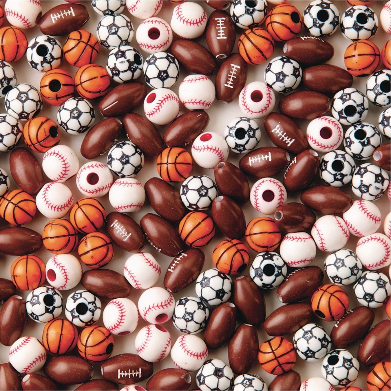 S&S Worldwide Color Splash! Sport Bead Assortment (Bag of 144), Assorted, 12mm to 15mm