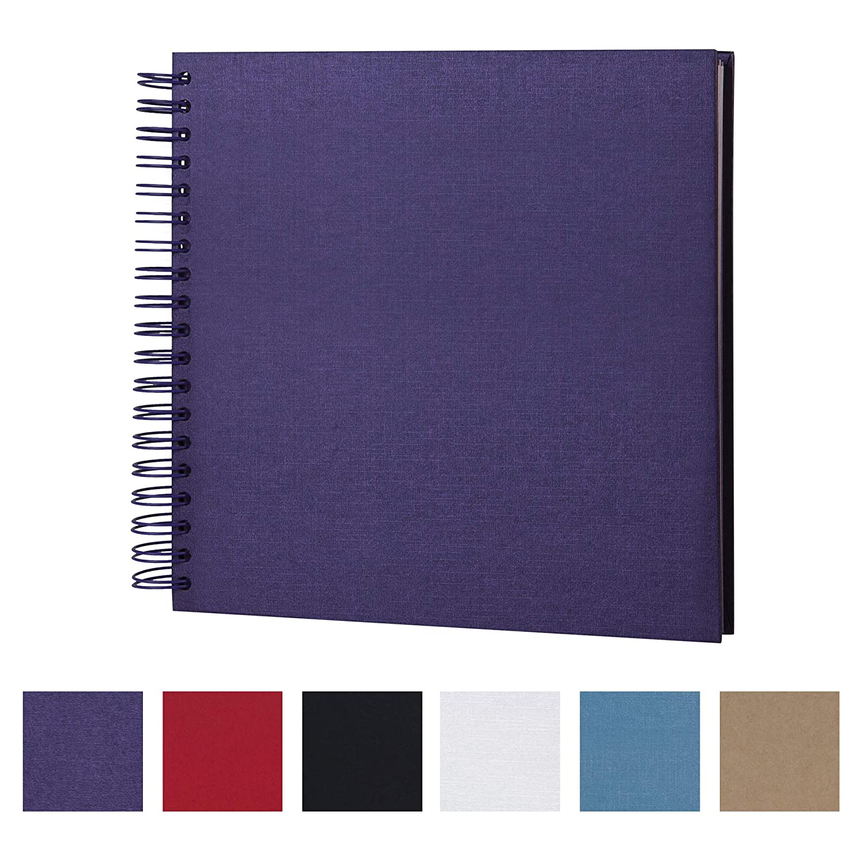 White, 8 Inch 8 x 8 Inch DIY Scrapbook Photo Album Hardcover Kraft Blank White Page Wedding and Anniversary Family Photo Album