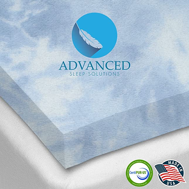 Advanced Sleep Solutions Ultra-Premium Gel-Infused Memory Foam Mattress/Bed Topper for Cooling