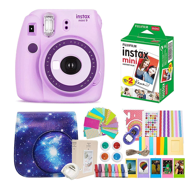 Fujifilm Instax Mini 9 Camera + Instant Camera Purple Set+Fuji Instax Mini Film + Instax Mini 9 Case + Instax Accessories Kit Bundle, Instant Camera Gift Sets - Light Purple by Shaveh