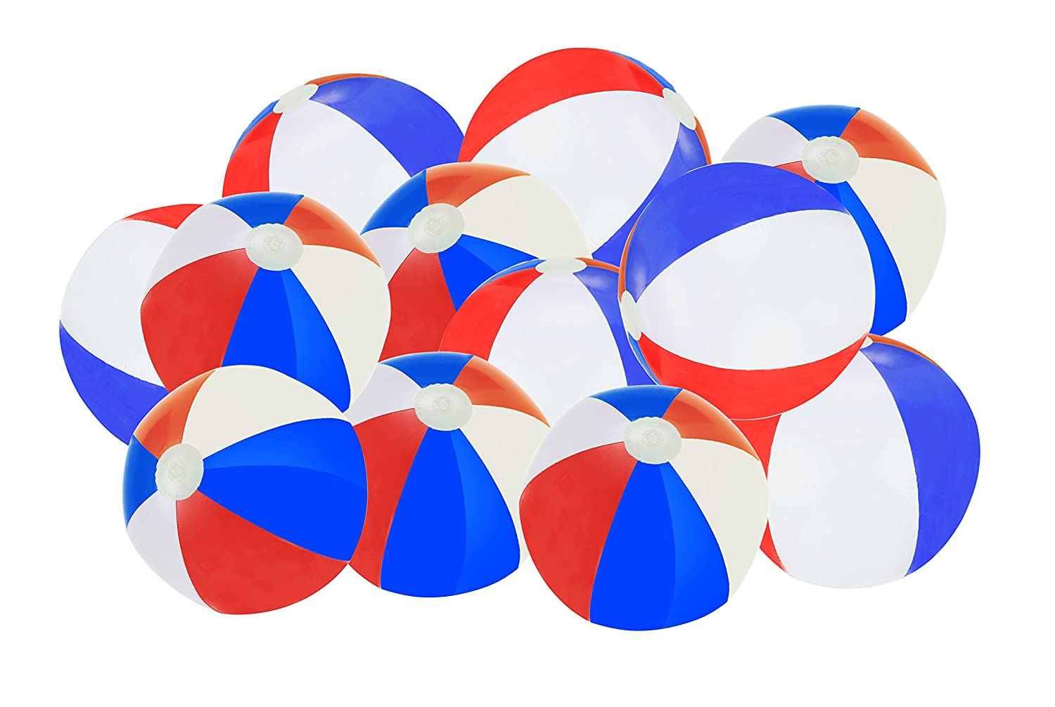 Patriotic Beach Ball Inflates White Pack Of 12 Red And Blue Beach Balls SNInc.