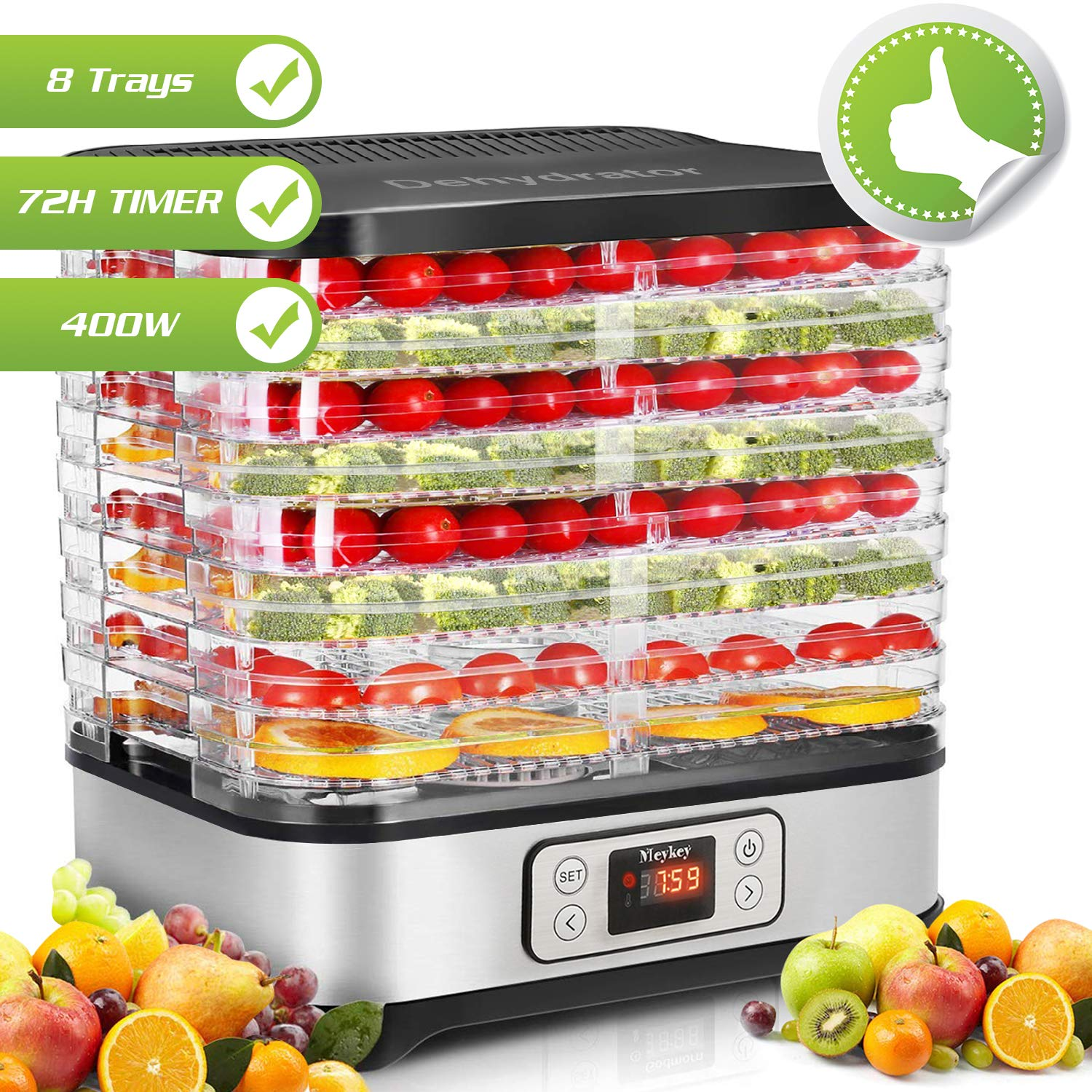 Food Dehydrator Machine, Digital Timer and Temperature Control, 8 Trays - For Beef Jerky Preserving Wild Food and Fruit Vegetable Dryer in Home Kitchen, BPA Free/400 Watt by COOCHEER