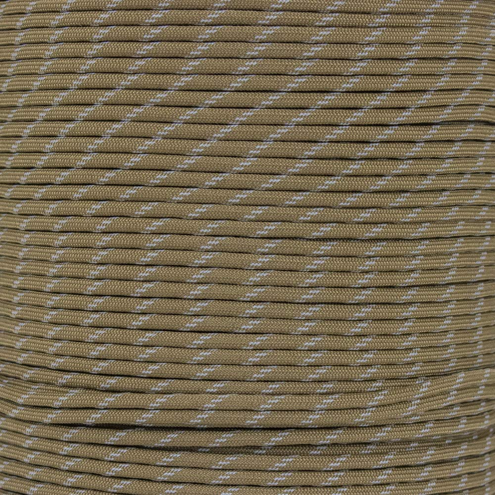 Reflective Type III 550 Paracord - 7 Strand Core - 100% Nylon, Parachute Cord, Commercial Paracord, Survival Cord (10 Feet, Coyote Brown with Reflective Tracers) by PARACORD PLANET (Image #1)