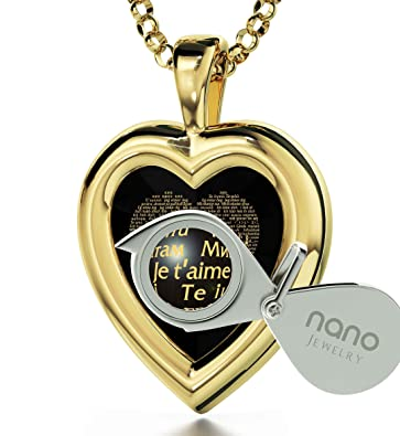 Heart Necklace I Love You Infinity Pendant 24ct Gold Inscribed Spanish Te Quiero on CZ, 18