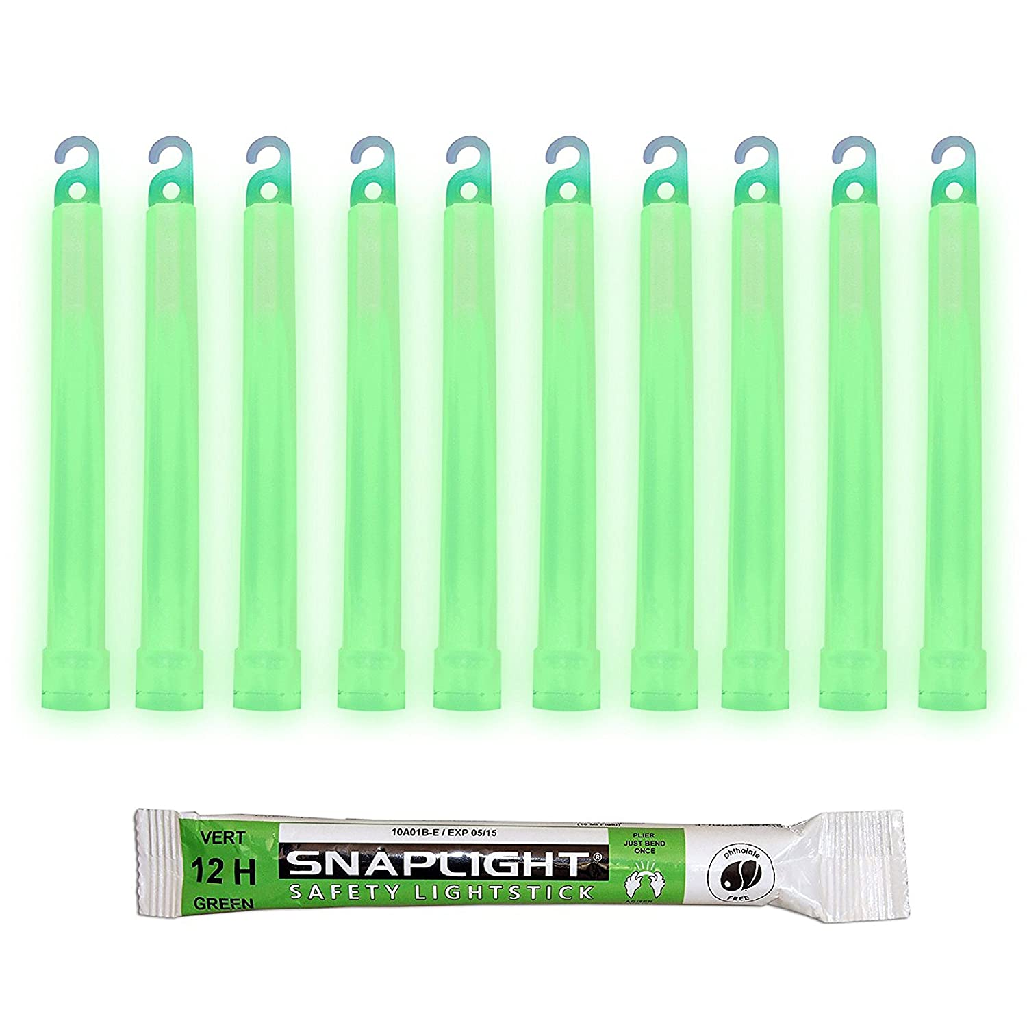 Cyalume SnapLight 6' Industrial Grade Glow Sticks, Multi-Color 30 Pack (10pcs White 8h, 10pcs Red 12h, 10pcs Green 12h) Light Sticks Cyalume Technologies SA8-308099AM
