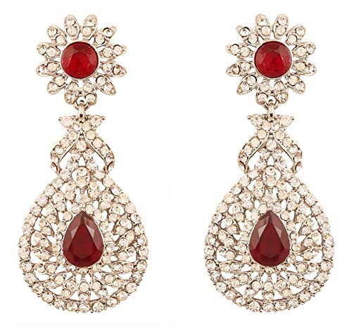 18d69753c Touchstone Indian Bollywood Rhinestone/Faux red Ruby Bridal Jewelry  Chandelier Earrings for Women in Silver