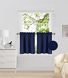 "Elegant Home 2 Panels Tiers Small Window Treatment Curtain Insulated Blackout Drape Short Panel 30""W X 24""L Each for Kitchen Bathroom or ANY Small Window # R16 (Navy Blue)"