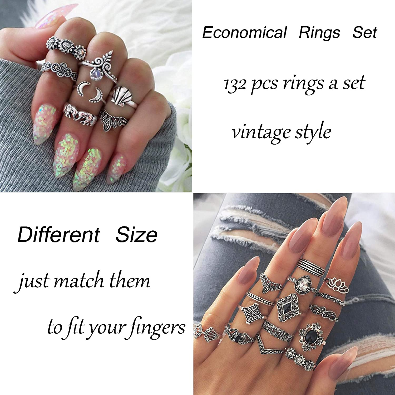 LOYALLOOK 132PCS Bohemia Knuckle Ring Set Women Hollow Silver Fashion Finger Rings Vintage Stackable Knuckle Midi Rings Set