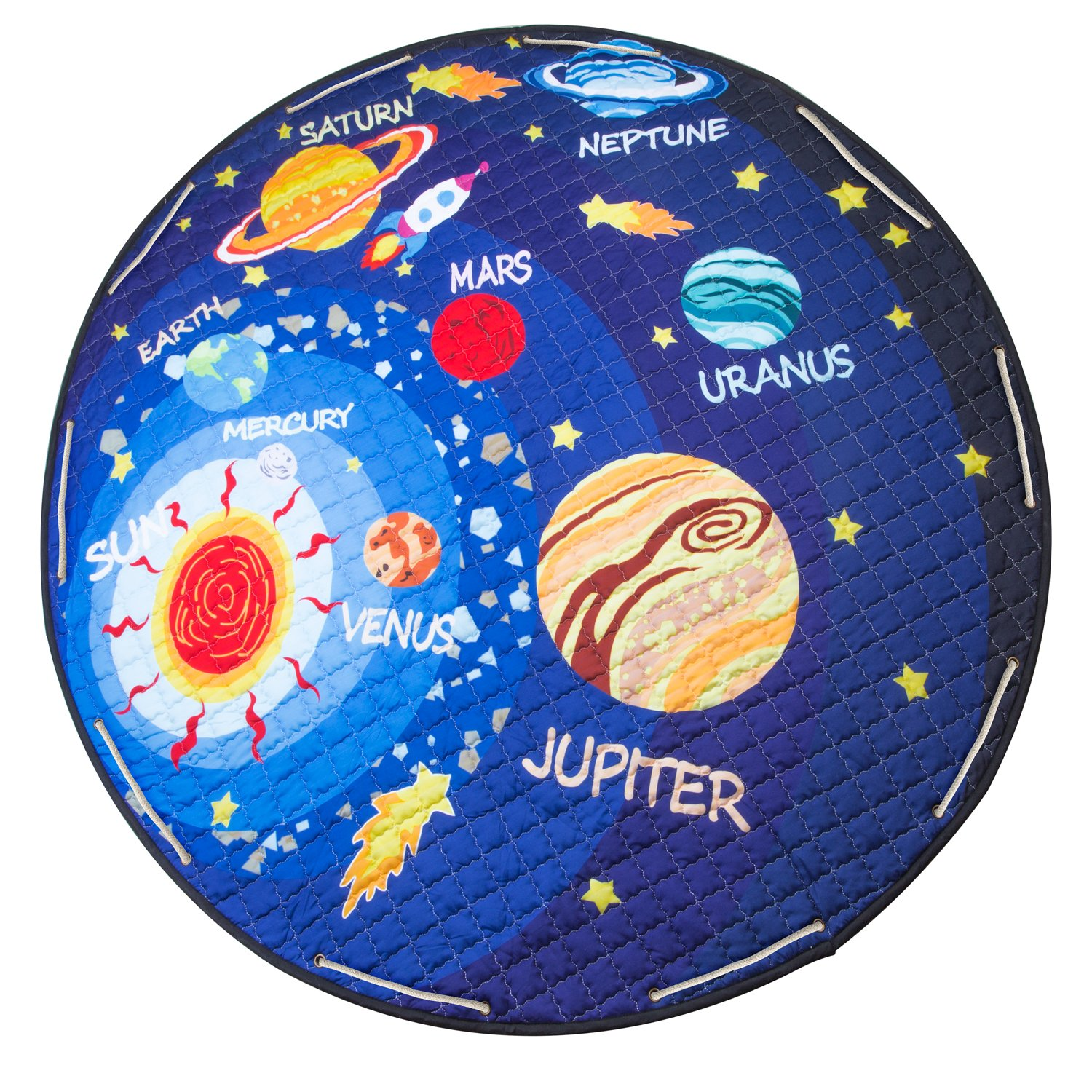 Baby Kids Play Mat  Foldable Toys Storage Organizer Children Play Rugs with 60 Inches Large Diameter Soft Cotton and Washable (Planet) BERENNIS