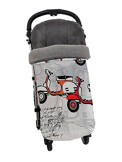 Saco Universal para carro o silla de paseo – Interior en punto cnegro – Exterior en Tejido loneta Motos Vespas