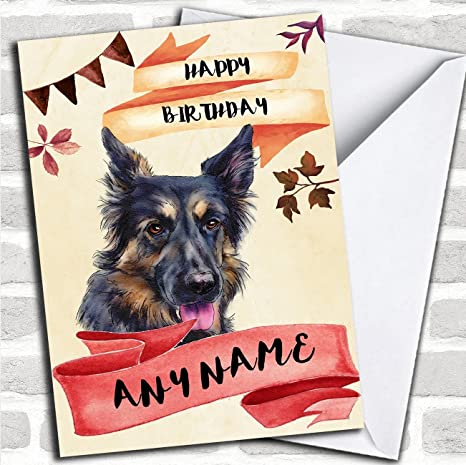 Amazon Watercolour Rustic Dog German Shepherd Personalized Birthday Card Office Products