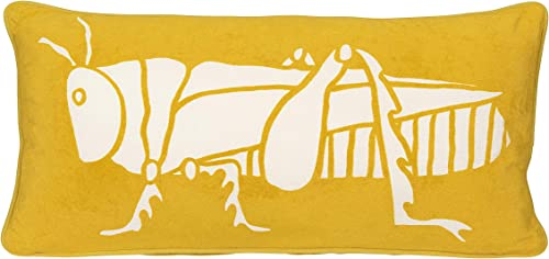 Creative Co-op Bright Rectangle Cotton Velvet with White Grasshopper Image Pillow, Yellow