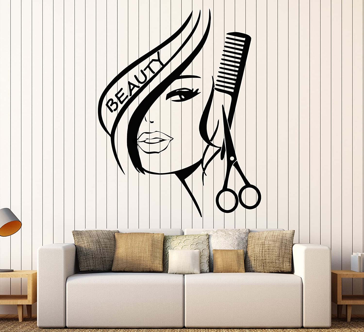 Amazon Wall Stickers Vinyl Decor Hair Beauty Salon Barbershop Sexy Girl Ig1736 Home Kitchen
