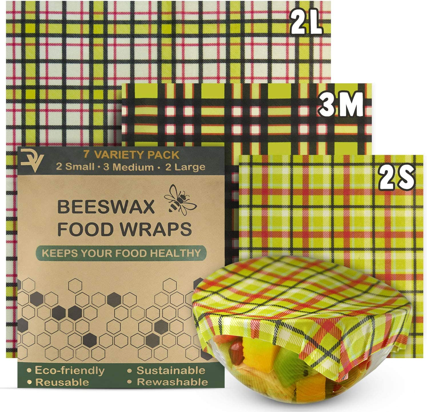DEIVVOX Organic Beeswax Food Wrap Set Of 7 - Reusable Wax Food Wrap - Natural Beewax Wrapping - Bee Wax Wraps Sustainable Food Storage - Bee Wrap Plastic Free - Odorless Eco-friendly Reusable