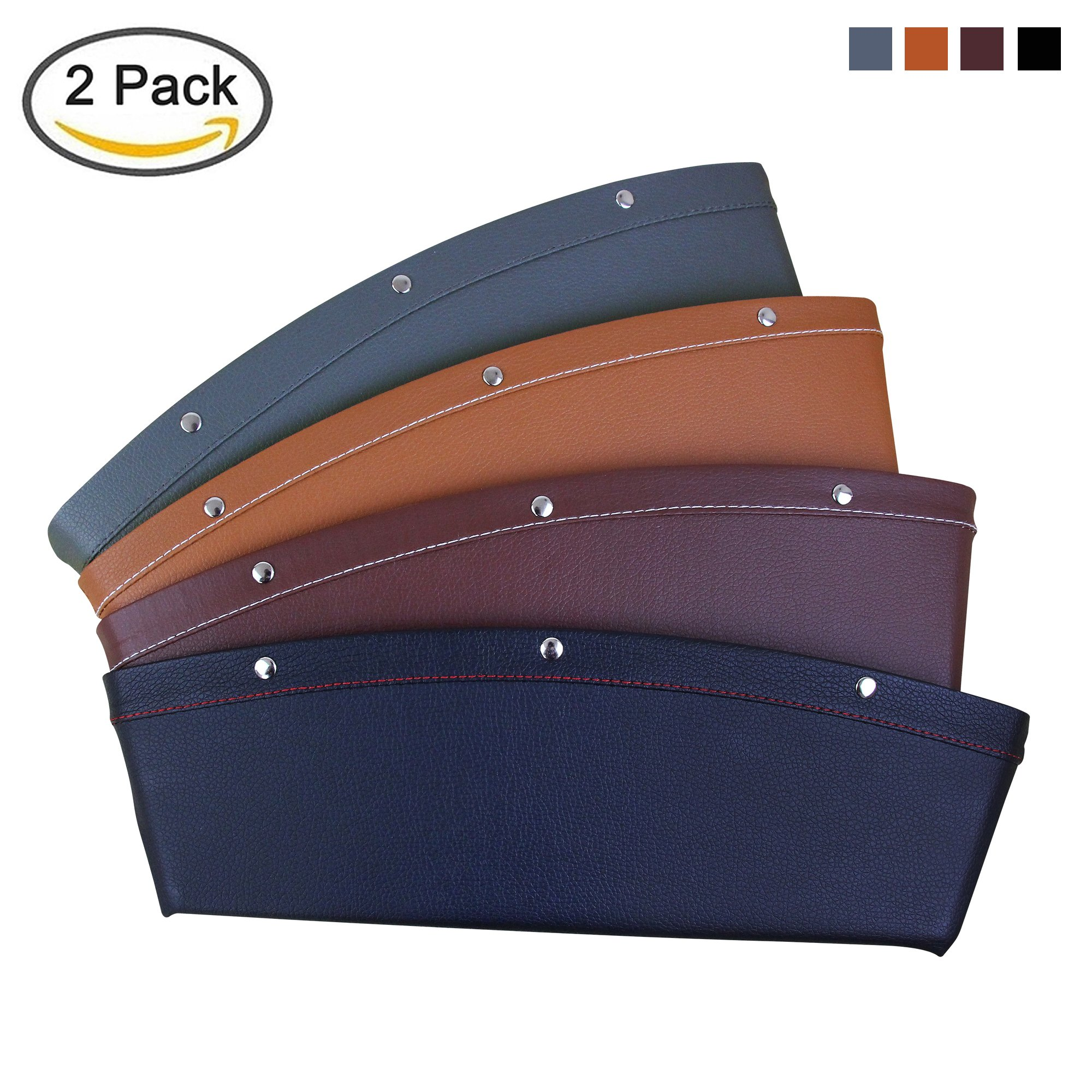 KYC 2 Pack Car Pocket Organizer Seat Side Caddy Console Car Catcher Gap Filler PU Leather 4 Color Interior Car Accessories - GRAY COLOR