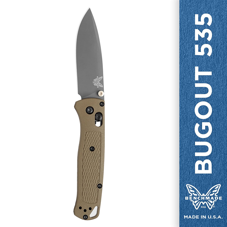 Benchmade – Bugout 535ナイフ、drop-point Plain Edge/緑 Handle