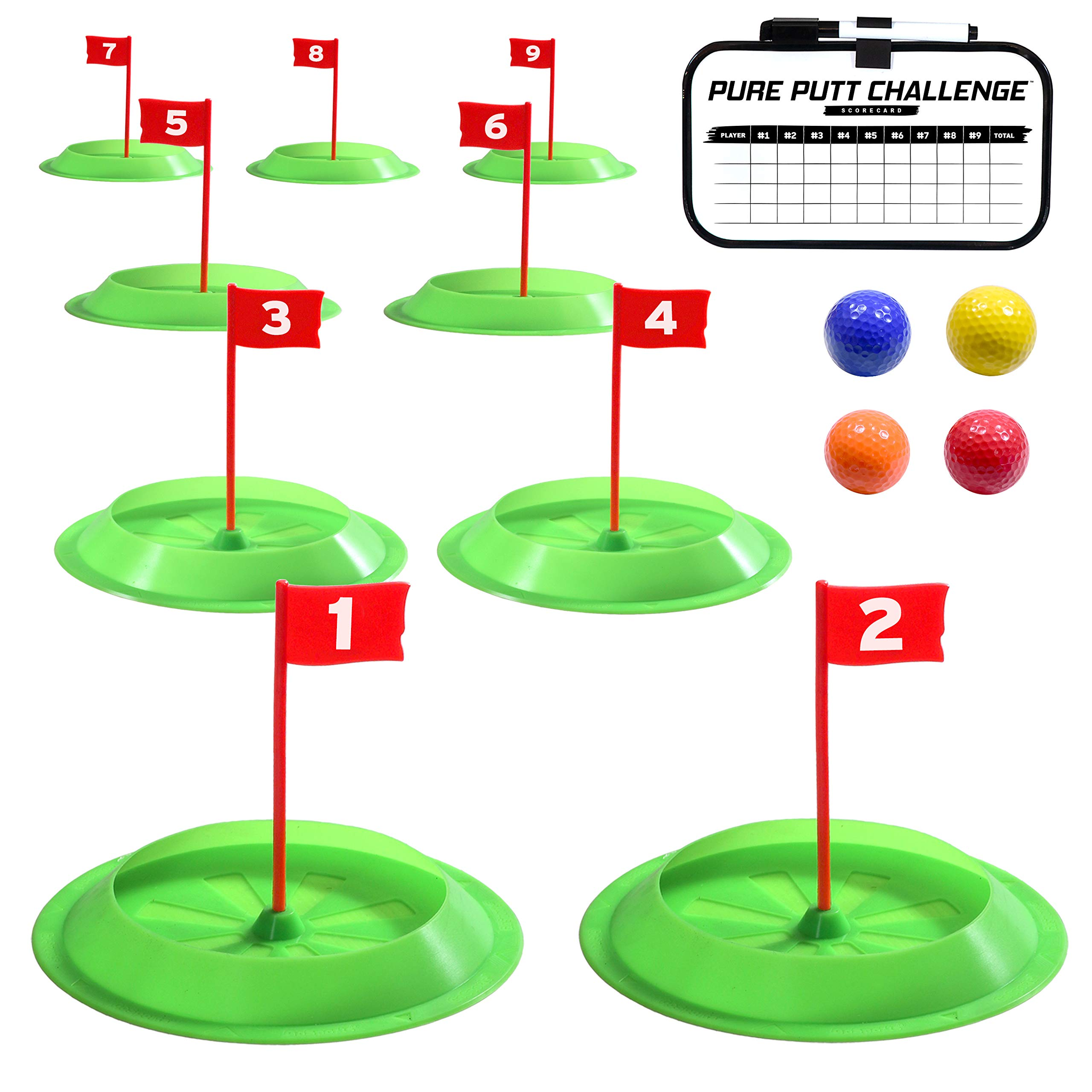 GoSports Pure Putt Challenge Mini Golf Game - Build Your Own Course at Home, The Office or On The Green - Includes 9 Holes, 4 Balls, Dry-Erase Scorecard & Rules