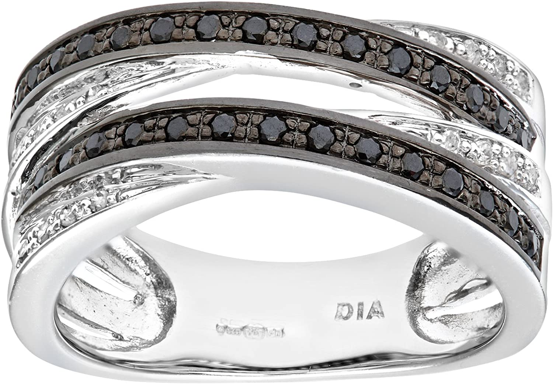 Naava Anillo para Mujer de Oro con Diamantes Blancos y Negros