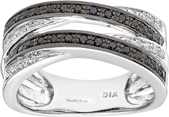 anillo de oro blanco de 9 K con diamantes negros y blancos