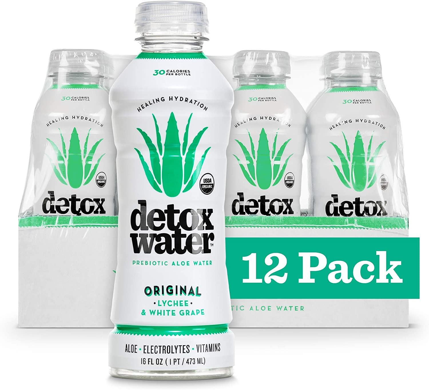 Detoxwater Organic Aloe Vera Infused Prebiotic Water - Original | Contains Highest Quality ACTIValoe® with Electrolytes, Vitamins, Antioxidants | 30 Calories (Lychee & White Grape, 12 Pack)